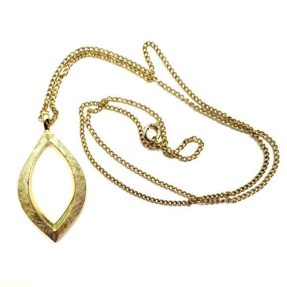 Vintage gold plated leaf necklace with dangle slot